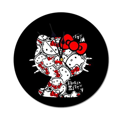 Hello Kitty - Reloj de pared con personalidad simple silencioso, silencioso, con báscula y manos, adecuado para oficina, dormitorio, sala de estar, cocina