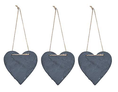 Juego de 3 pizarras con forma de corazón, 12 x 11 cm, pizarra, para puerta, decoración de pared