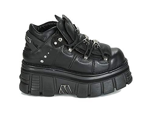NEW ROCK Zapatos con Cordones de Mujer M-106-C66 Talla 39 Negro