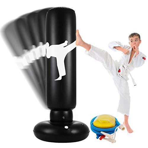 Aufblasbarer Boxsack Für Kinder 63 Zoll Freistehender Fitness Zielständer Tower Tasche Hochleistungs-Becher Säule Säcksack Für Box Karate Training Für Jugendliche Erwachsene Indoor Outdoor