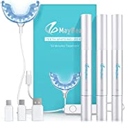 MayBeau Teeth Whitening Kit with 24X LED Light,include 3 Teeth Whitening Pens with 35% Carbamide,Whiten Teeth Faster Without Pain or Sensitivity, Effectively,Whitens in 10 Minutes