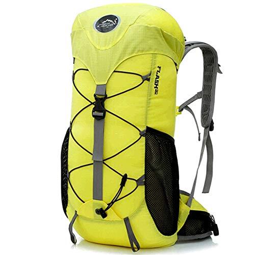 Backpack Grande randonnée imperméable à l'eau en Nylon léger Faisant du vélo Voyage Sac à Dos de Camping pour Femmes Hommes Adultes,Yellow