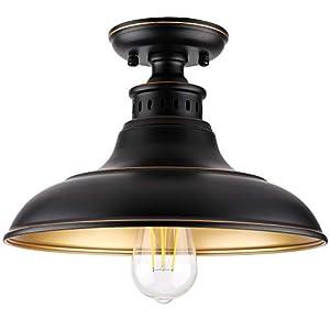 Semi Flush Mount Ceiling Light, Farmhouse Light Fixture, Industrial Flush Mount Ceiling Light for Hallway/Stairway/Foyer/Kitchen/Porch/Entryway