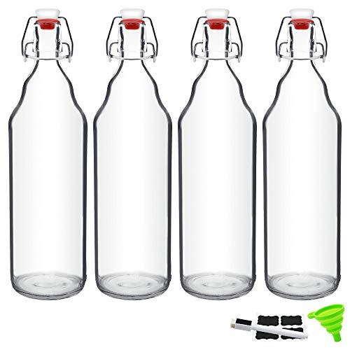 32oz Beer Bottle Glass Kombucha Bottles with Stoppers for Brewing, Beverages, Smoothies, Kefir, Beer, Soda, Juicing, Kombucha, Water, Milk, Oil, Vinegar 4 Pack