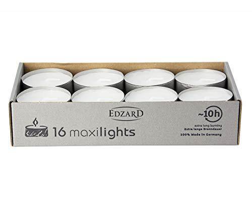 EDZARD 16 Stück Wenzel Maxilights Maxi-Teelichter, weiß, Aluminiumhülle, Durchmesser 58 mm, ohne Duft