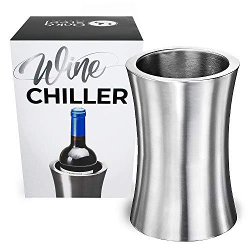 Premium Edelstahl Weinkühler, Silber - Doppelwandiger Flaschenkühler, Flaschenhalter - Stilvoll & Elegantes - Halten Sie Ihren Wein Perfekt Gekühlt - Barzubehör Weihnachtsgeschenk