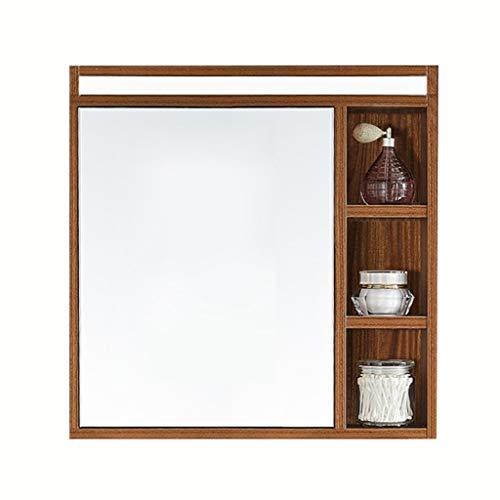 Schränke Spiegelschränke Badspiegel Tür aus Massivholz Badspiegel eintürige Arzneischrank, Wandeinbau (Color : Wood, Size : 60 * 66 * 14cm)