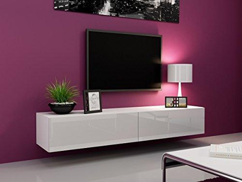 Tv Schrank Vigo 180 cm Länge, Hängeschrank, Wandschrank, Fernsehentisch mit 2 Klapptüren, Lowboard, Grifflose Öffnen, Push to Open (Weiß / Weiß Hochglanz)