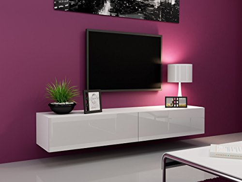 Furniture24 Tv Schrank Vigo 180 cm Länge, Hängeschrank, Wandschrank, Fernsehentisch mit 2 Klapptüren, Lowboard, Grifflose Öffnen, Push to Open (Weiß/Weiß Hochglanz)