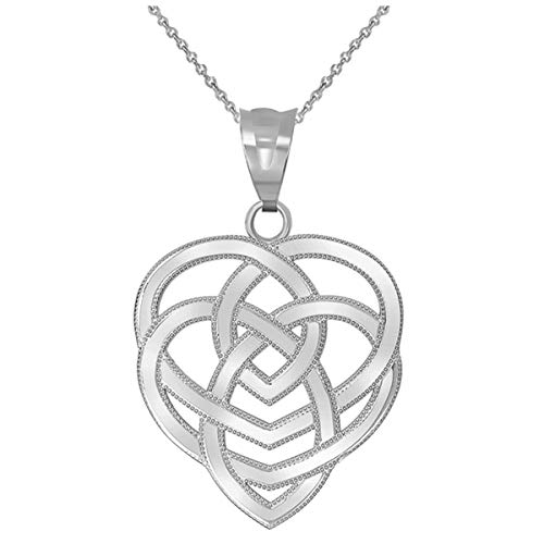 Elegant 10k White Gold Celtic Motherhood Knot Pendant Necklace, 18'