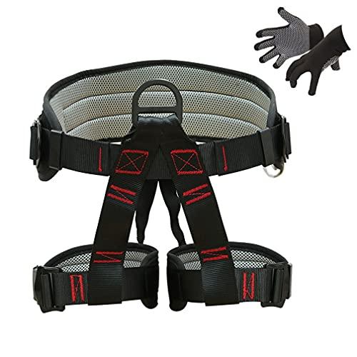 KLLKR Arnés de Escalada Cinturones de Seguridad Seguros para montañismo Entrenamiento al Aire Libre espeleología Escalada en Roca Equipo de Rappel arnés de guía de Medio Cuerpo