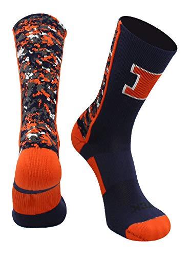 TCK Sports Universität von Illinois Fighting Illini Digital Camo Crew Socken, Jungen Damen Mädchen Herren, Navy/Orange/White, Small