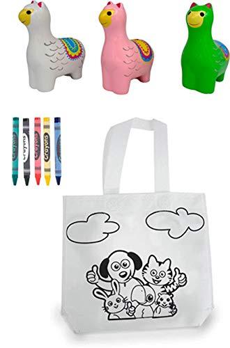 El Pack más Completo y Original! Lote de 20 Bolsas para Colorear con 5 Ceras + 20 Huchas Infantiles de Llamas cumpleaños, comuniones, colegios, guarderías y Celebraciones