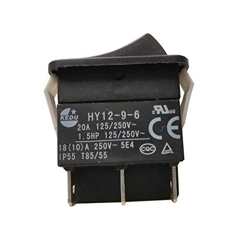KEDU HY12-9-6 6 6 Pins Druckknopfschalter ON-(ON) Elektrisches Werkzeug Wippschalter mit automatischer Reset-Funktion für Haushalts-Elektrowerkzeuge und Industriemaschinen 125/250 V 20 A 2er-Pack