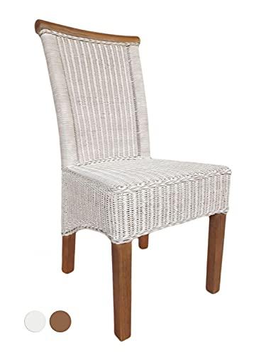 casamia Rattanstuhl Esszimmer-Stuhl weiß Perth Sitzkissen Leinen weiß Farbe ohne Sitzkissen