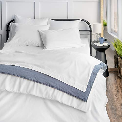 Welhome 100% Cotton Flannel Sheet Set - King Size 4 PC Luxury Bed Sheets - 100% Brushed Cotton for Supreme Comfort - Lightweight - Soft Warm & Cozy - Breathable - Deep Pockets - White