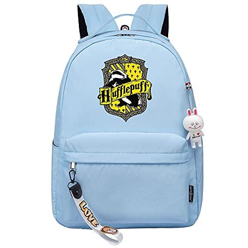 MMZ Mochila para mujeres, niñas, mochila para niños, mochila para niños, mochila informal, patrones de moda, estuche para lápices con estampado Hufflepuff (azul)