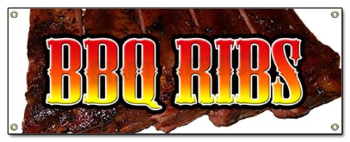 BBQ Ribs Banner Sign barbque bar-b-q BBQ Sign