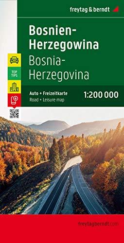 Bosnien-Herzegowina, Autokarte 1:200.000, Top 10 Tips: Touristische Informationen. Ortsregister mit Postleitzahlen. Entfernungen in km (freytag & berndt Auto + Freizeitkarten)