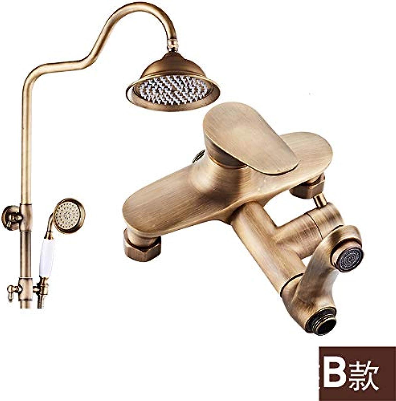 Weacp Dusche Vollkupfer-Duschset Antik-Duschset Antik-Brause, B