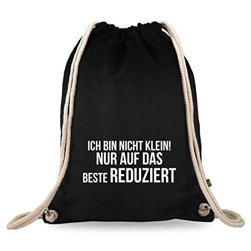 Gymtaselliebe® gymtas met spreuk - grappige motieven en spreuken - bedrukt - katoen zwart - sporttas - rugzak - ca. 12 liter – 37 x 46 cm.