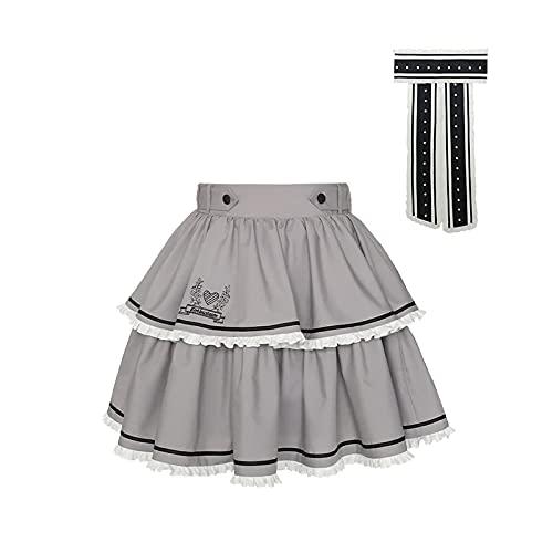 JLCYYSS Falda Lolita japonesa de primavera y verano SK retro Teen Girls Soft Cute Party Court Faldas, disfraz de Cosplay L [azul y gris] falda + rion