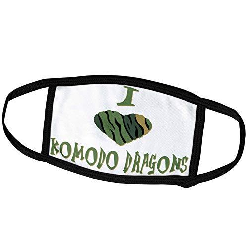 3dRose Blonde Designs Camo Colored Striped I Love Animals Heart - Camo Colored Striped I Love Komodo Dragons - Face Masks (fm_122106_2)