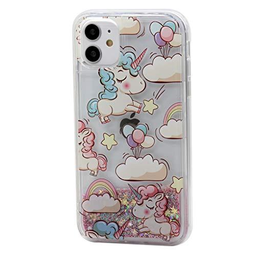 Keyihan Cover per iPhone 11-6.1 Pollici Glitter Liquido Custodia Antiurto Trasparente Disegni Divertenti Brillantini Paillettes Protettiva Case Rigida Morbida Silicone Paraurti (Unicorno Arcobaleno)