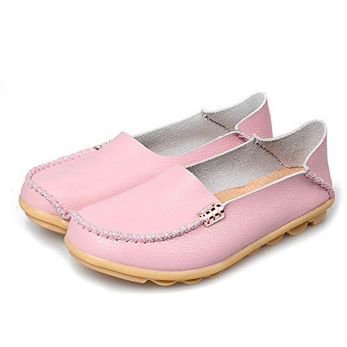 Primavera Y Otoño Baja Ayuda Zapatos Madre Zapatos De Mujer Zapatos De Vaca Costilla Suela De Frijol Casual Zapatos De Mujer 37 Rosa