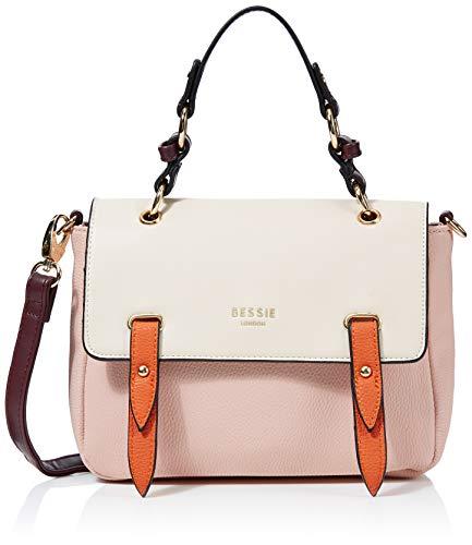 Bessie London Damen Colour Block Flap Top Satchel Henkeltasche, Pink, 8x21x24.7 Centimeters