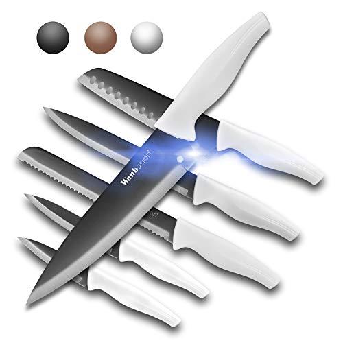 Wanbasion White Professional Kitchen Knife Chef Set, Kitchen Knife Set Stainless Steel, Kitchen Knife Set Dishwasher Safe with Sheathes