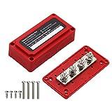 Wivarra 300A M8 48V Caja de Barra Colectora de Carcasa Roja de 4 VíAs de Alta Resistencia Adecuada para VehíCulos Recreativos y Barcos