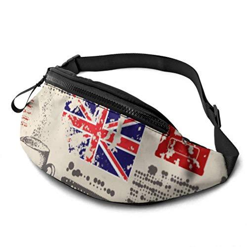 JOCHUAN Sac de Taille zippé London Symbols avec Elizabeth Tower (big Ben) Zipper Fanny Pack avec Prise Casque et Sangles réglables Taille Day Pack pour Voyage Sports Randonnée