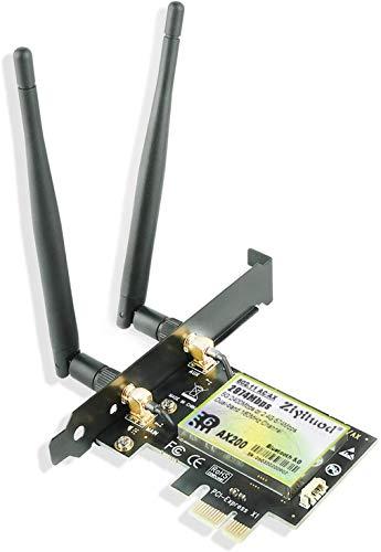 Ziyituod WLAN-Karte, maximaler Downloadwert 2974 Mbps und hochladen 802.11 Mbps Bluetooth5.0, Intel WiFi 6 AX200 PCIe Netzwerkkarte, 5G/2.4G 160MHz, ultra-niedrige Latenz, für Windows 10 64-Bit-PC