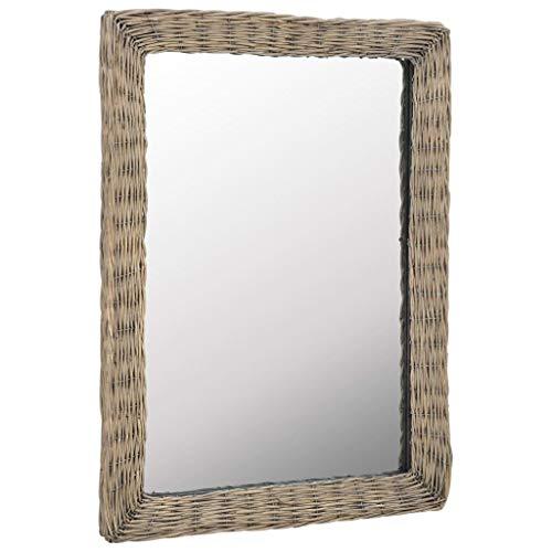 vidaXL Espejo Decorativo Mimbre Marrón 60x80cm Decoración para Casa y Hogar