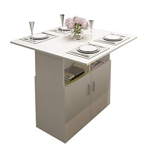 Mesa de Comedor, Mesa de Comedor Plegable Simple para el hogar, Mesa de Comedor Multifuncional con armarios y Ruedas 80x80x80cm,Blanco