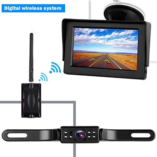 CooMees Backup Camera Digital Wireless 4.3'' Monitor System Truly Color Rear/Front View Waterproof Camera For Cars/Trucks/Vans/SUVs/RV/Trailers Driving/Reversing Use Guide Lines Optional