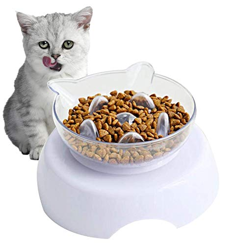 Ciotola Gatto,Ciotole per Gatti,Cat Feeder,Cat Bowl,Dog Bowl,Pet Feeder,Trasparente Inclinata Antiscivolo 15°,per Gatti e Cani di Piccola Taglia
