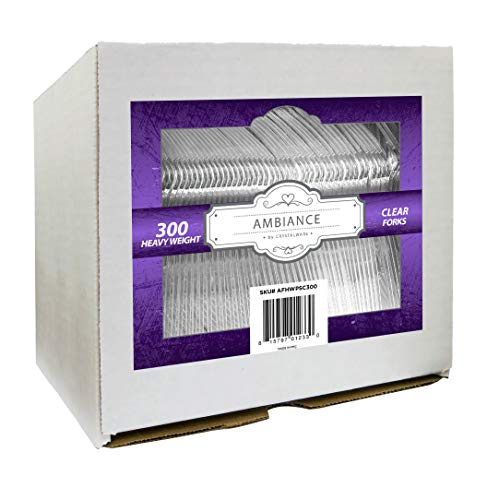 Crystalware, Heavy-Weight Clear Plastic Forks, Durable, Disposable, Box of 300