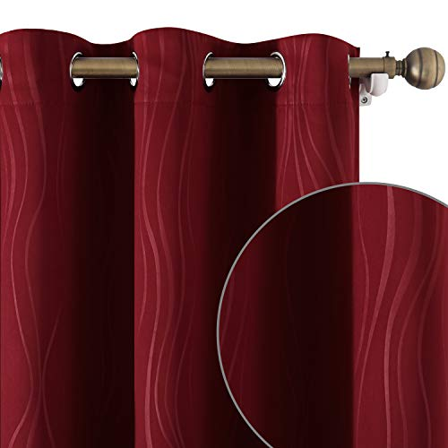 HOMEIDEAS Burgundy/Red Blackout Curtains 52 X 96 Inch Length Room Darkening Curtains Thermal Insulated Wave Line Embossed Grommet 2 Panels Window Curtains for Living Room Bedroom