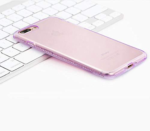 LIUYAWEI Estuche Transparente con Diamantes de imitación para iPhone 6s 6 s 6Plus iPhone X 7 8 Plus 7Plus 8Plus Funda Trasera de Silicona Suave TPU para teléfono Celular Etui, Morado, para iPhone X