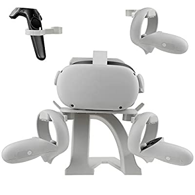 Esimen VR Headset Stand and Controller Holder for Oculus Quest 2/Rift S/HTC Vive/Vive Pro/Elite/Valve Index/HP Reverb G2, Controller Holder for Oculus Touch/Valve Knuckles/Vive (White)