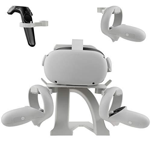 Novo suporte de modelagem de letras VR para Oculus Quest 2, suporte de tela de fone de ouvido e suporte de controle para Oculus Rift S/Vive Pro/Valve Index VR Headset e controles de toque (branco)