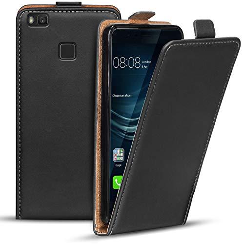 Verco Funda Flip Cover para Huawei P9 Lite, Carcasa Delgado Vertical Plegable Case para Huawei P9 Lite Funda Teléfono, Negro