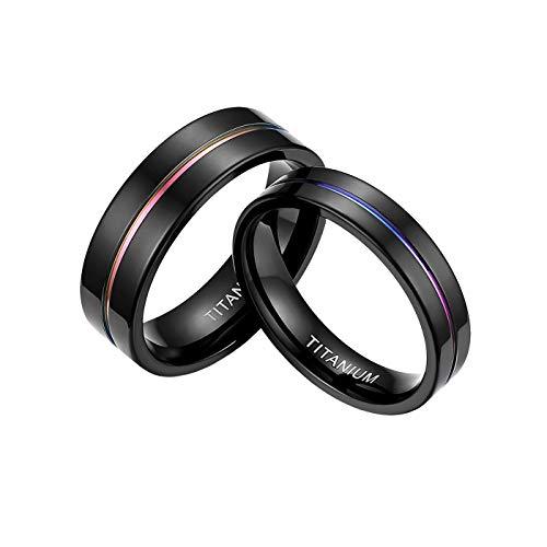 Mabohity Damen-Ring Titan-Ring mit Groove Titanium 5mm Breit Ehering Verlobungsring Trauring Freundschaftsring Partnerring Paar Hochzeit Band, schwarz pink, Größe 67