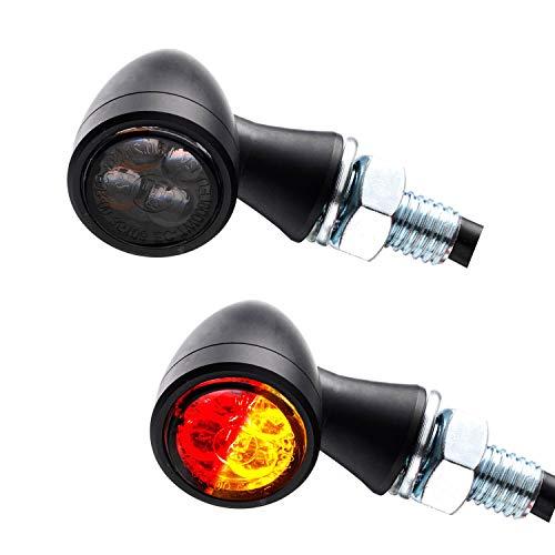 LED 3in1 Mini Rücklicht Bremslicht Blinker Zero schwarz getönt Motorrad Chopper Caferacer 1 Paar