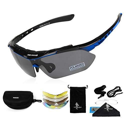 FREE SOLDIER Polaroid Sonnenbrille Herren Fahrradbrille Sportbrille 5 in 1 Taktische Militärische MTB Brille zum Radfahren Fahrt Wandern Fischen Outdoor-Aktivitäten Laufbrille (Blau)