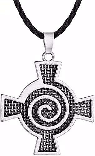 Yiffshunl Collar Collar gótico para niños Adolescentes Estilo Hiphop Celta Espiral Remolino Cruz Colgante Collar Cadena de Cuero Collar Regalo