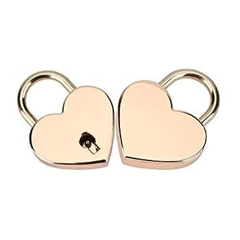 Padlock with Key 2Pack,Heart-Shaped Skeleton Key Lock Set,Zinc Metal Lock for Luggage Diary Book Jewelry Box Rose Gold