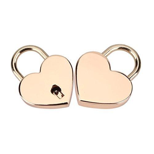 Padlock with Key 2Pack,Heart-Shaped Skeleton Key Lock Set,Zinc Metal Lock for Luggage Diary Book Jewelry Box(Rose Gold)